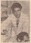 Japanese newspaper clipping of Sabio doing acupuncture.